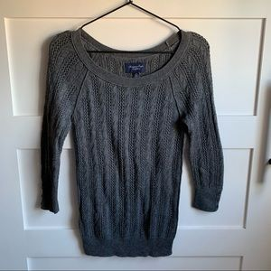 AE   Dark Gray Cable Knit Sweater Boat Neck Small